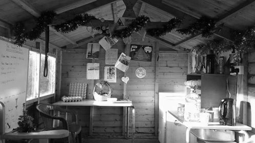 honesty box inside black and white